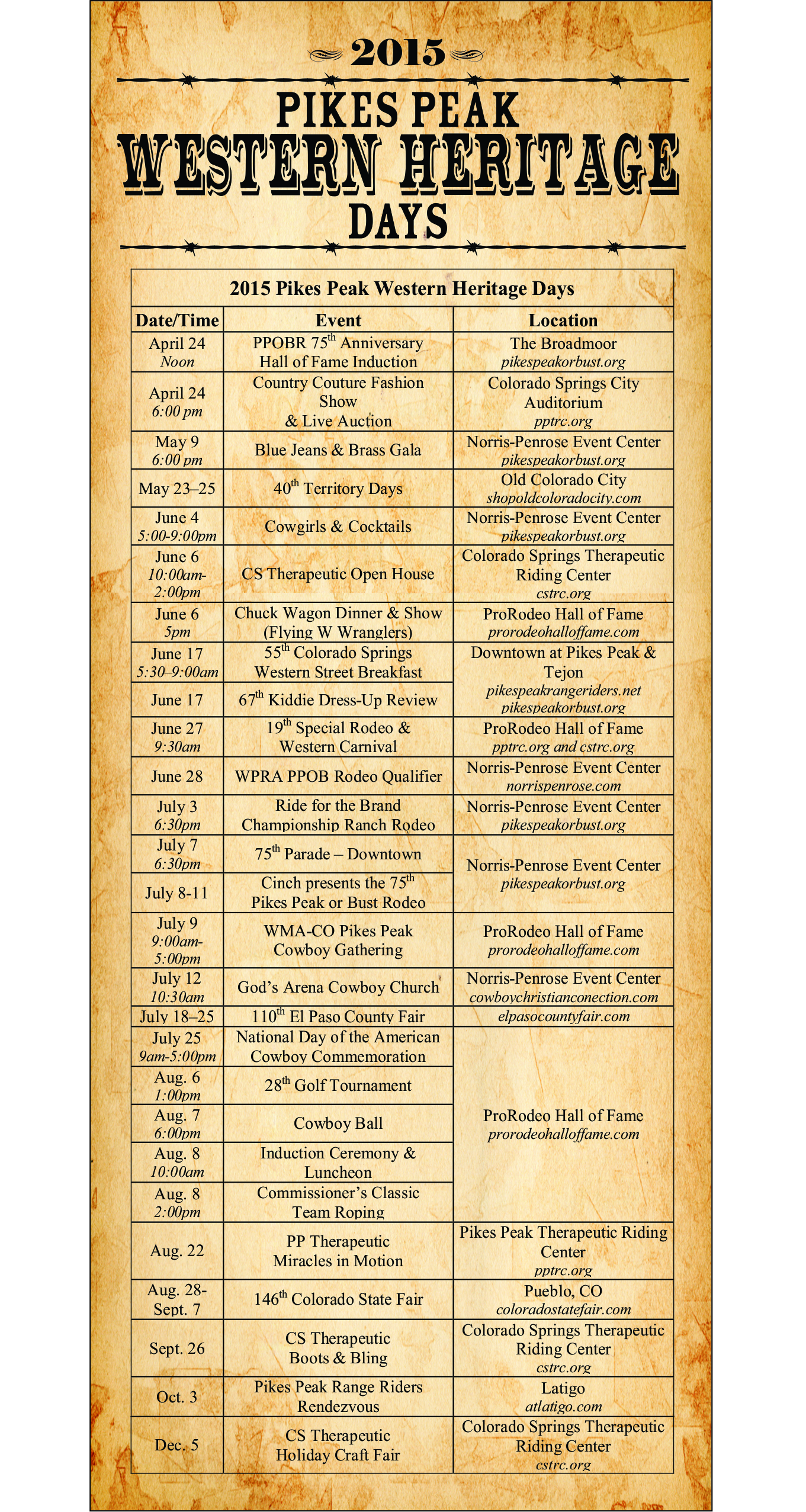 2015 Western Heritage Events Schedule Postcard - Front